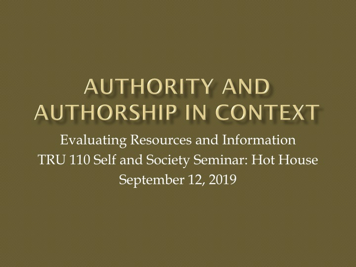 authority and authorship in context n.