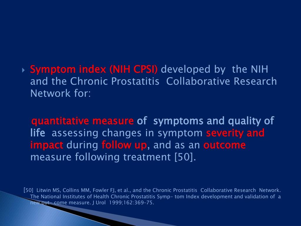 chronic prostatitis collaborative research network Szövődmények a prosztatitis kezelésében