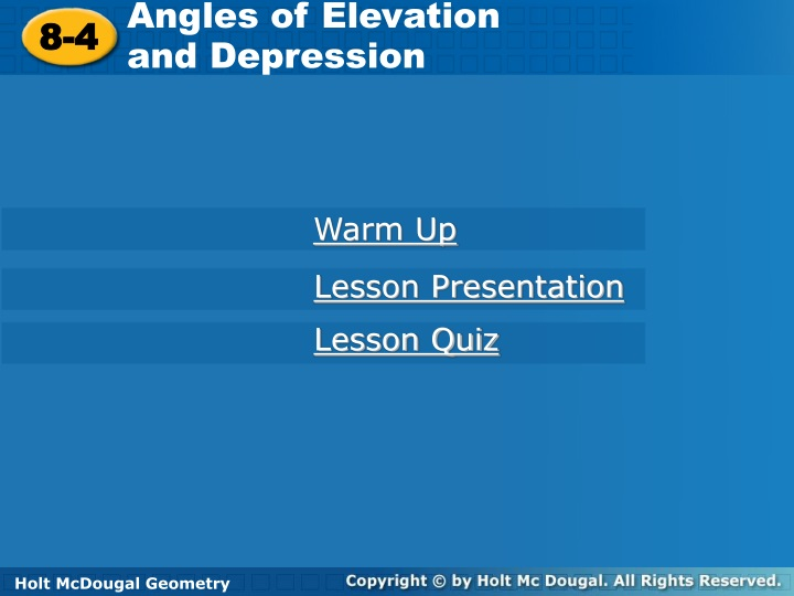 angles of elevation and depression n.