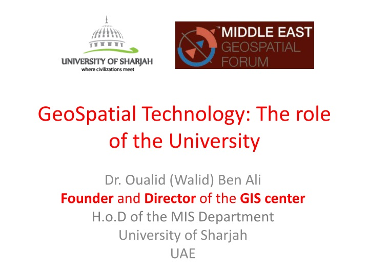 geospatial technology the role of the university n.