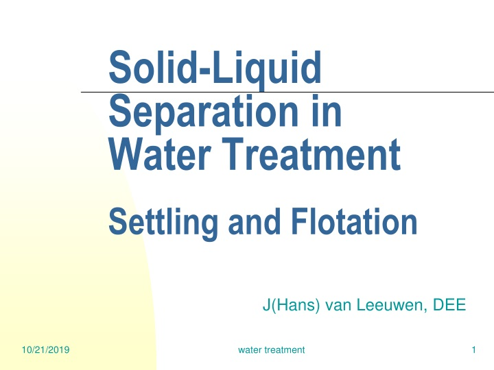 solid liquid separation in water treatment settling and flotation n.