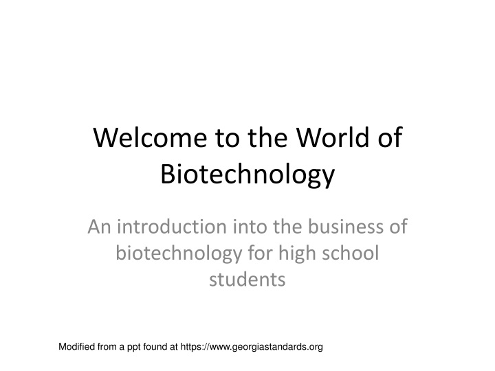 welcome to the world of biotechnology n.