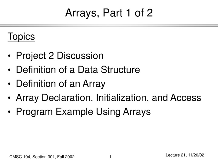 arrays part 1 of 2 n.
