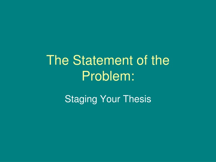 the statement of the problem n.