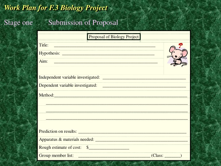 work plan for f 3 biology project n.
