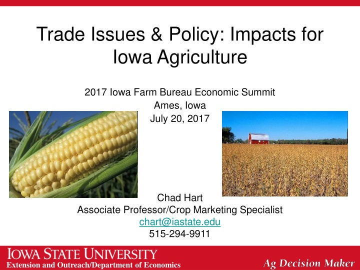 trade issues policy impacts for iowa agriculture n.