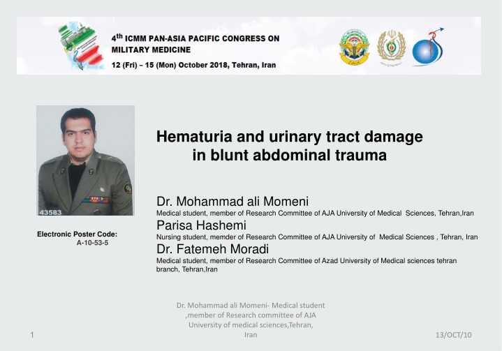 hematuria and urinary tract damage in blunt n.