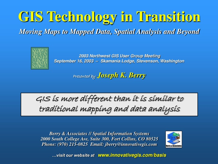gis technology in transition moving maps to mapped data spatial analysis and beyond n.