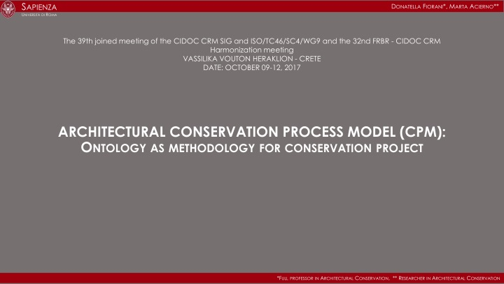 architectural conservation process model cpm ontology as methodology for conservation project n.