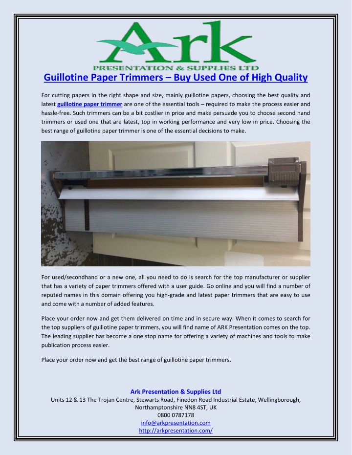 guillotine paper trimmers buy used one of high n.