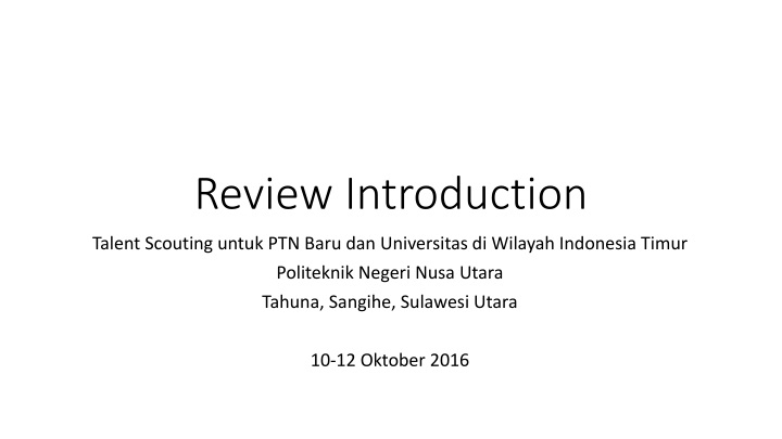 review introduction n.