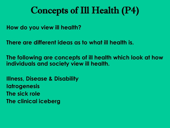 concepts of ill health p4 n.