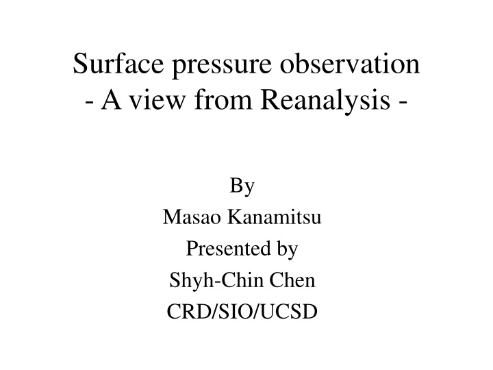 surface pressure observation a view from reanalysis n.