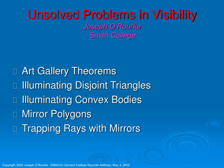 unsolved problems in visibility joseph o rourke smith college n.