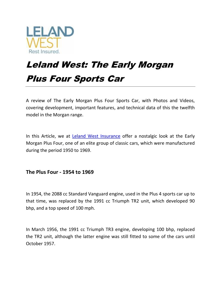 leland west the early morgan plus four sports car n.