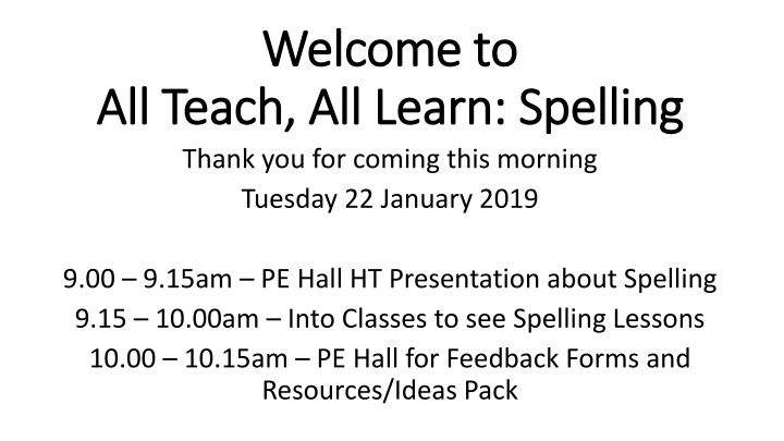 welcome to all teach all learn spelling n.