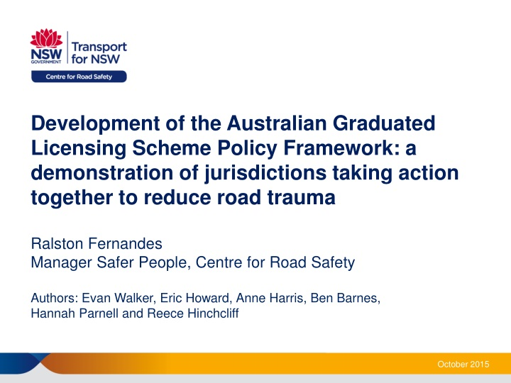development of the australian graduated licensing n.