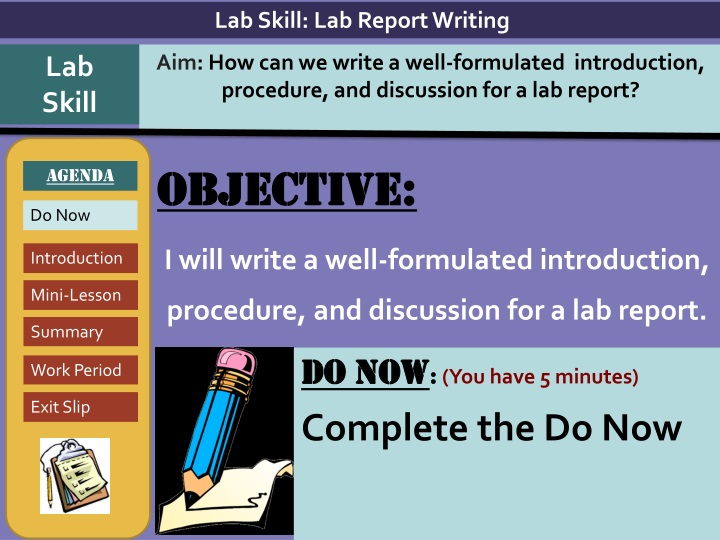 objective i will write a well formulated introduction procedure and discussion for a lab report n.