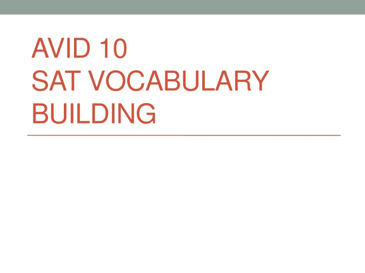 avid 10 sat vocabulary building n.