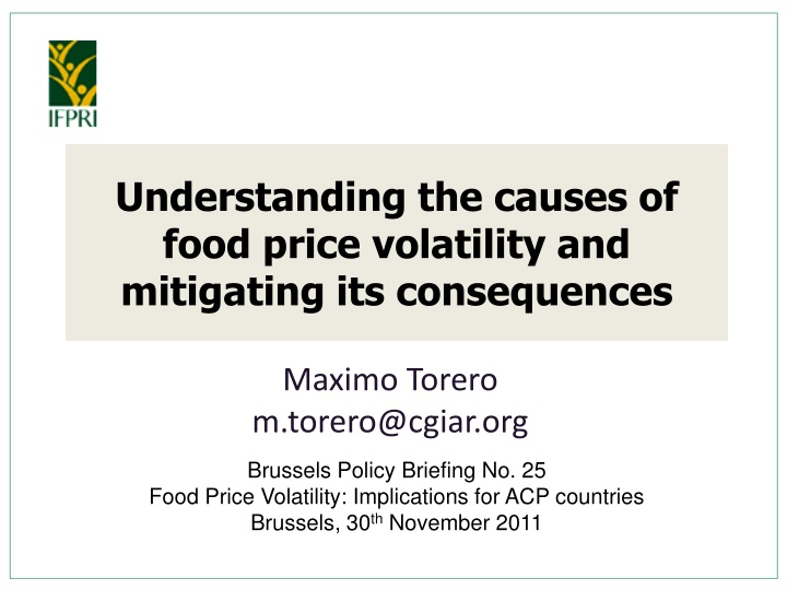 understanding the causes of food price volatility and mitigating its consequences n.