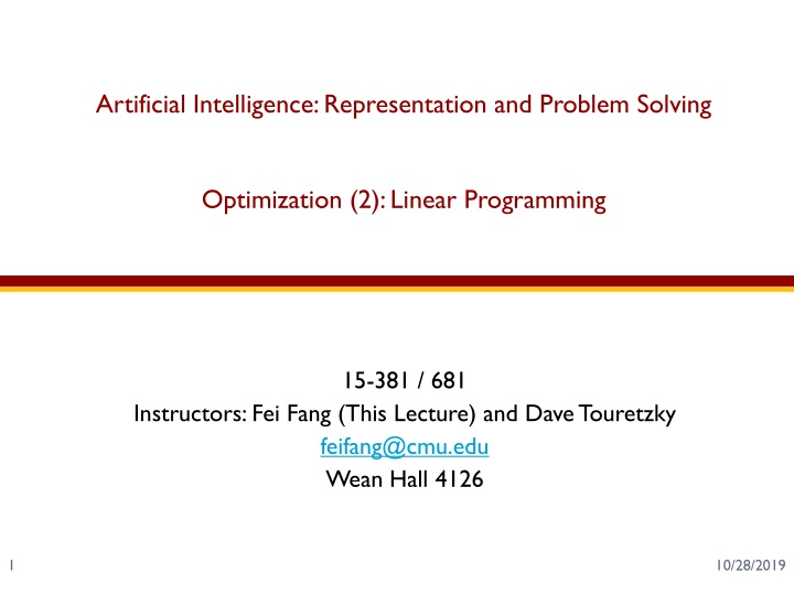 artificial intelligence representation and problem solving optimization 2 linear programming n.