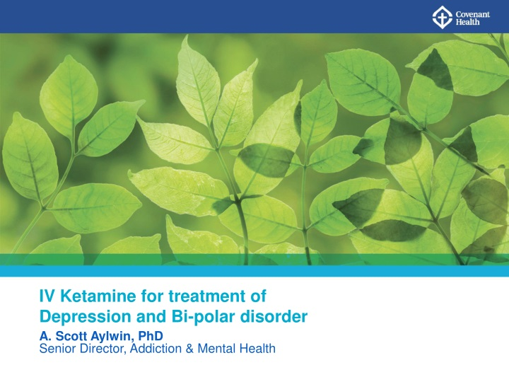 iv ketamine for treatment of depression n.