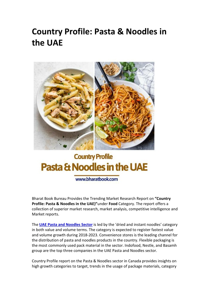 country profile pasta noodles in the uae n.