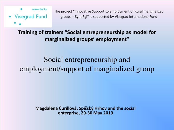 social entrepreneurship and employment support of marginalized group n.