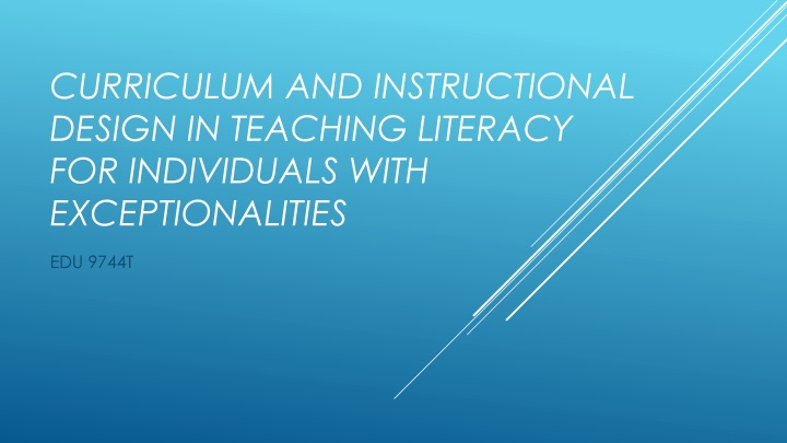 curriculum and instructional design in teaching literacy for individuals with exceptionalities n.
