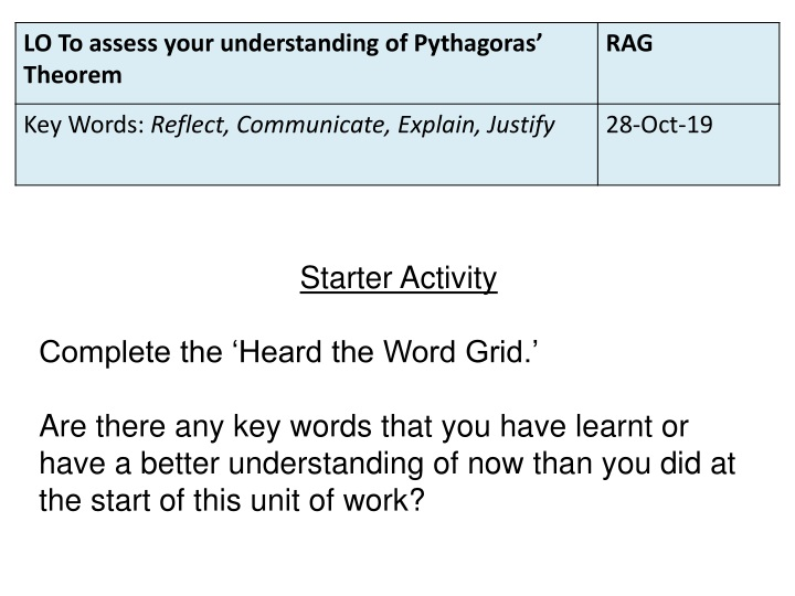 starter activity complete the heard the word grid n.