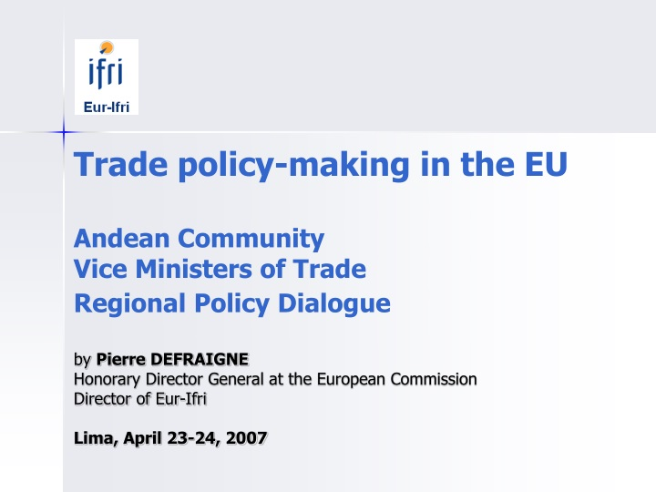 trade policy making in the eu andean community n.