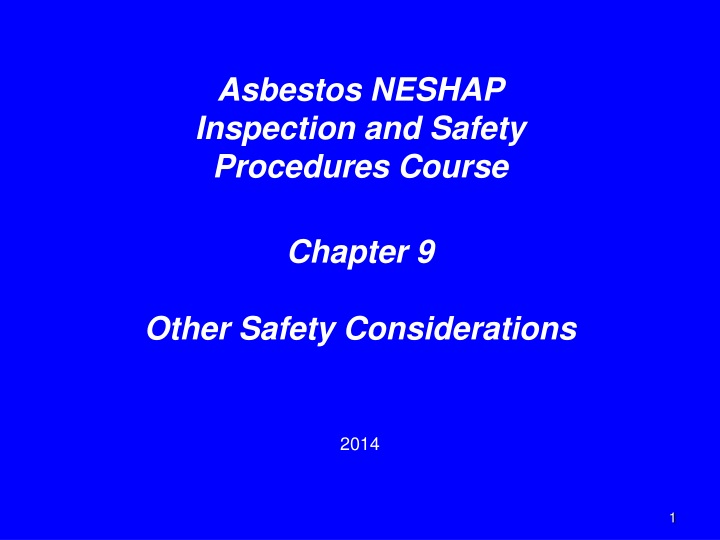 asbestos neshap inspection and safety procedures n.