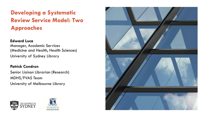 developing a systematic review service model two approaches n.