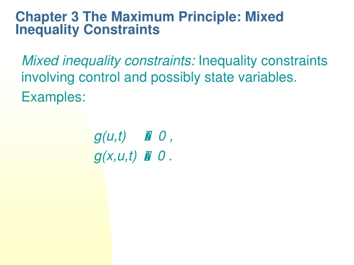 chapter 3 the maximum principle mixed inequality constraints n.