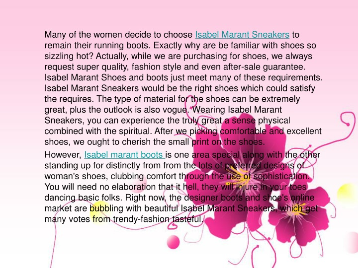 many of the women decide to choose isabel marant n.