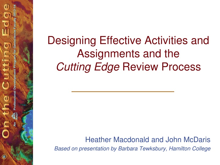 designing effective activities and assignments and the cutting edge review process n.