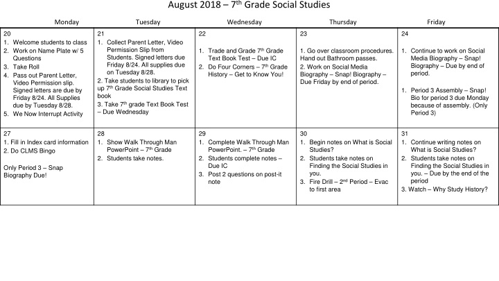 august 2018 7 th grade social studies monday tuesday wednesday thursday friday n.