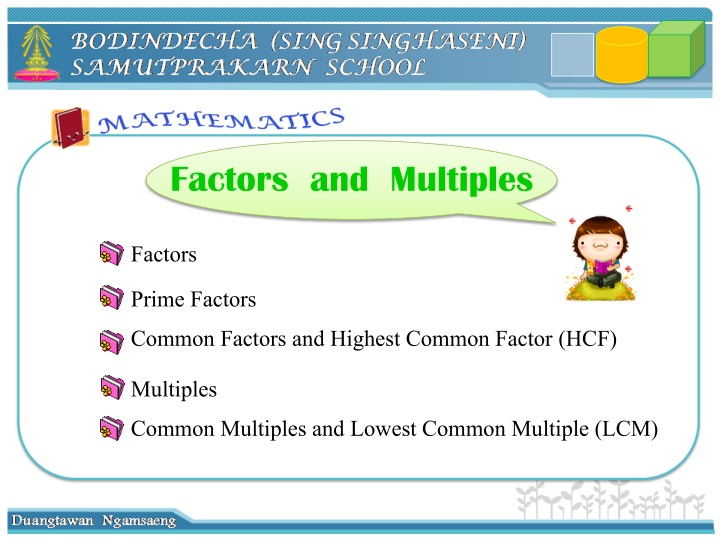 factors and multiples n.