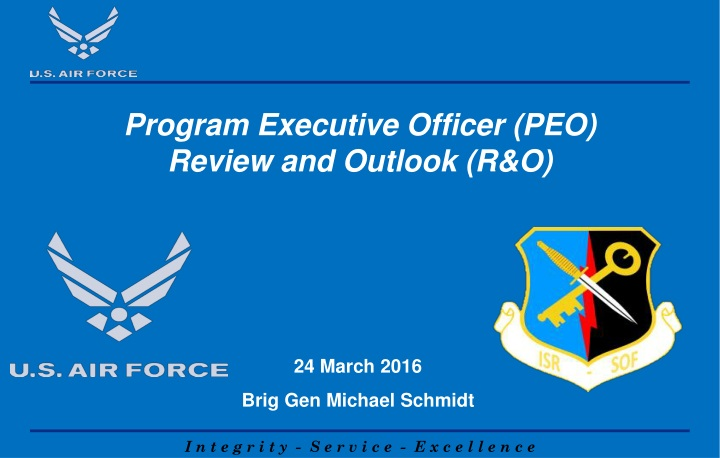program executive officer peo review and outlook r o n.