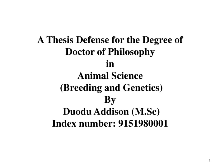 a thesis defense for the degree of doctor n.