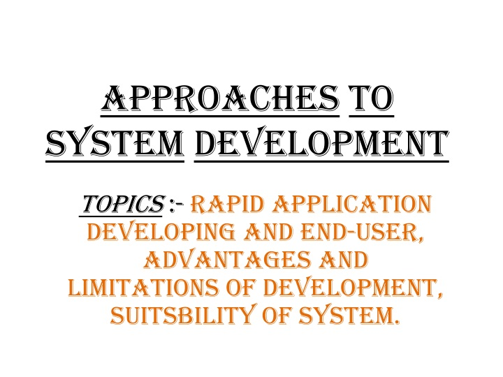 approaches to system development n.
