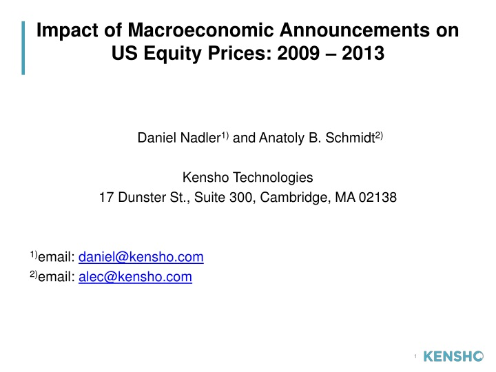impact of macroeconomic announcements on us equity prices 2009 2013 n.