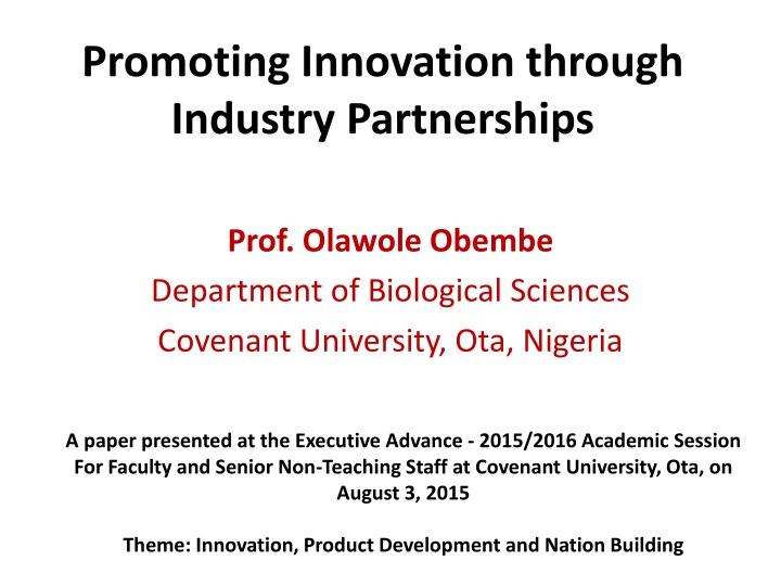 promoting innovation through industry partnerships n.