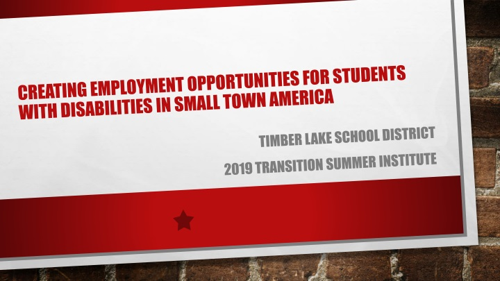 creating employment opportunities for students with disabilities in small town america n.