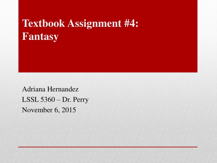 textbook assignment 4 fantasy n.