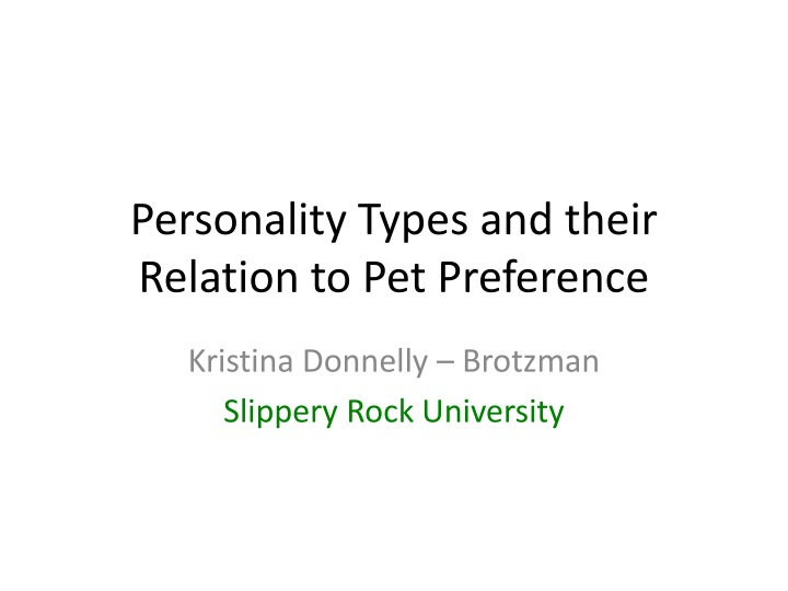 personality types and their relation to pet preference n.