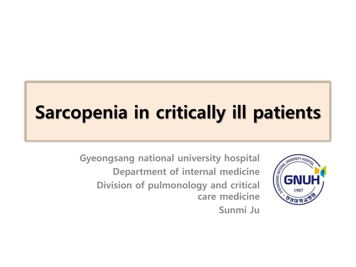 sarcopenia in critically ill patients n.