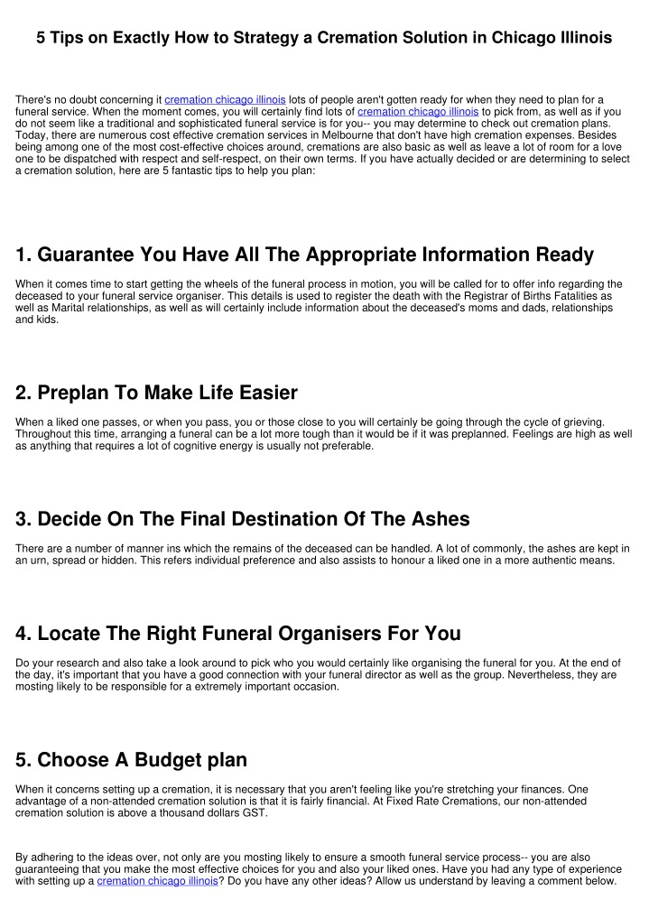 5 tips on exactly how to strategy a cremation n.