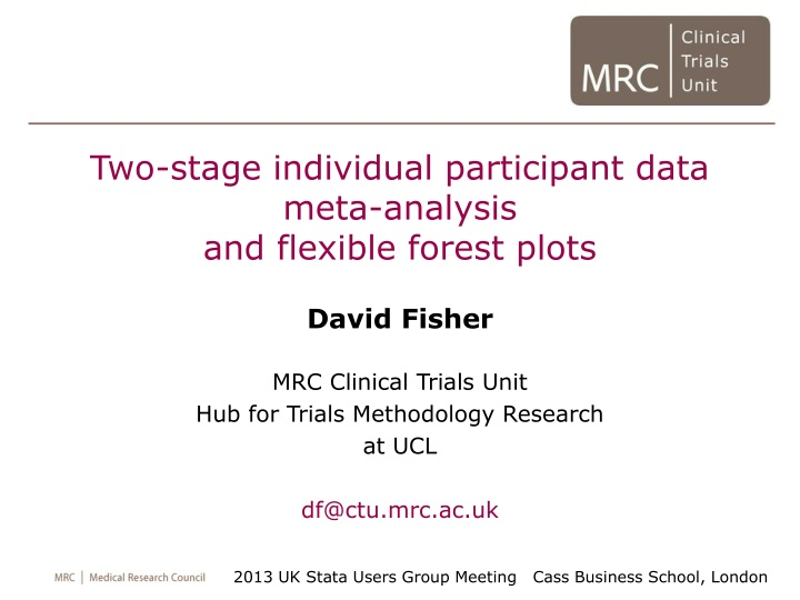 two stage individual participant data meta n.