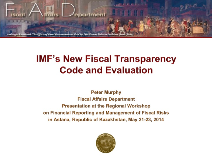 imf s new fiscal transparency code and evaluation n.